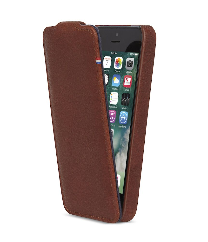 iPhone hoesje Decoded iPhone 5/5S/SE Leather Flip Case Brown
