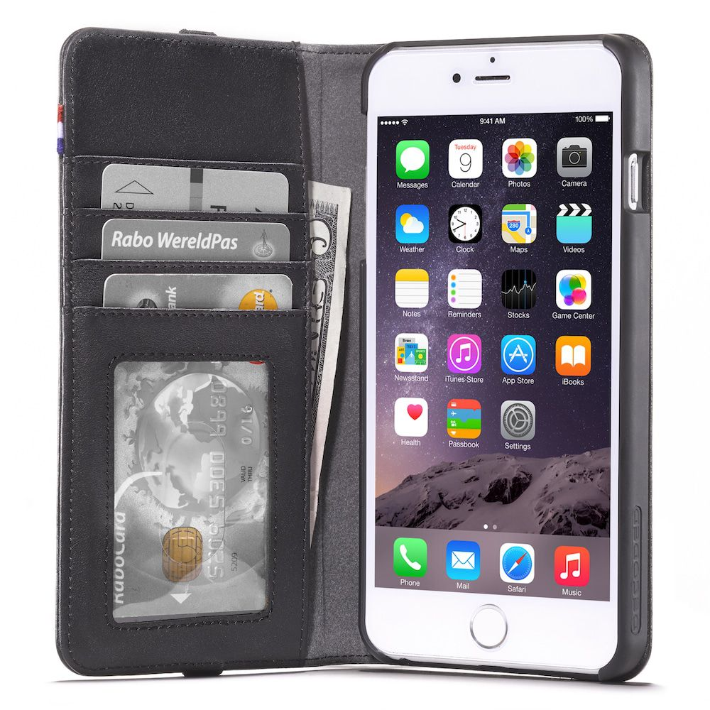iPhone hoesje Decoded iPhone 6/6S Plus Leather Wallet Case Black