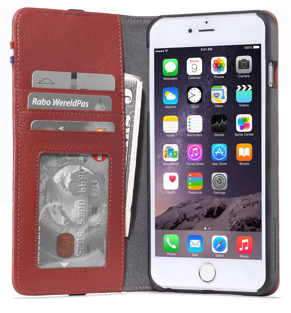 iPhone hoesje Decoded iPhone 6/6S Plus Leather Wallet Case Red
