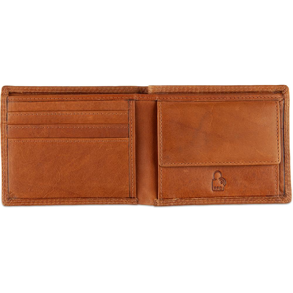 DSTRCT Leren Heren Billfold Portemonnee Wax Lane 384030 Cognac