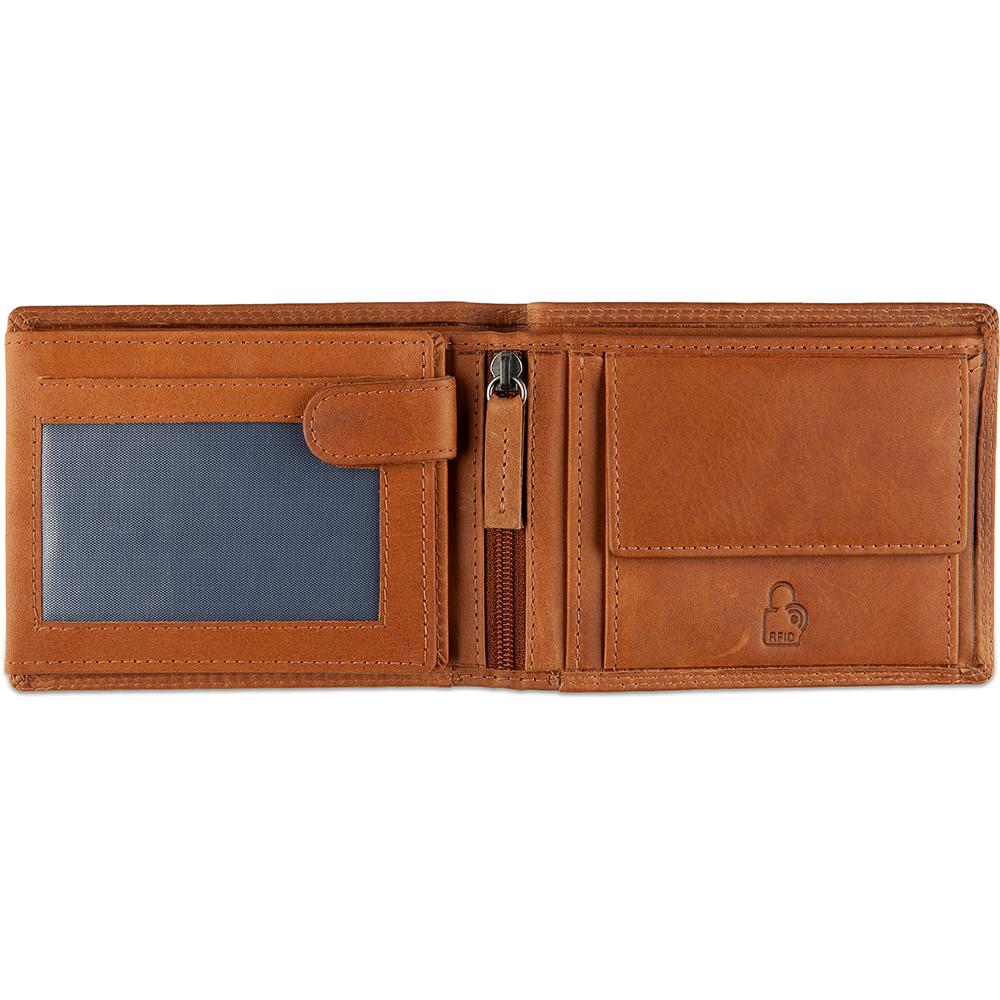 DSTRCT Leren Heren Billfold Portemonnee Wax Lane 384130 Cognac