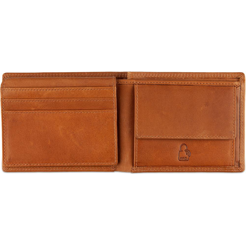 DSTRCT Leren Heren Billfold Portemonnee Wax Lane 384230 Cognac