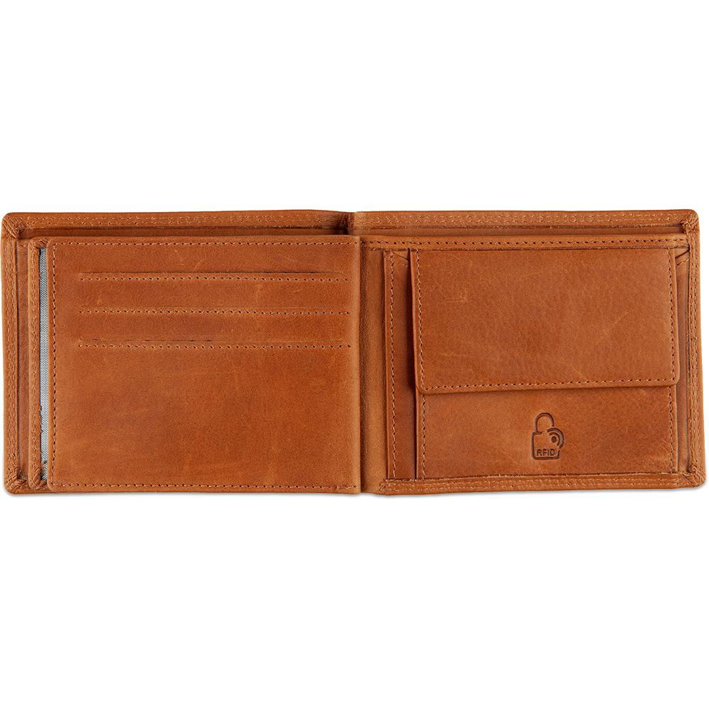 DSTRCT Leren Heren Billfold Portemonnee Wax Lane 384330 Cognac