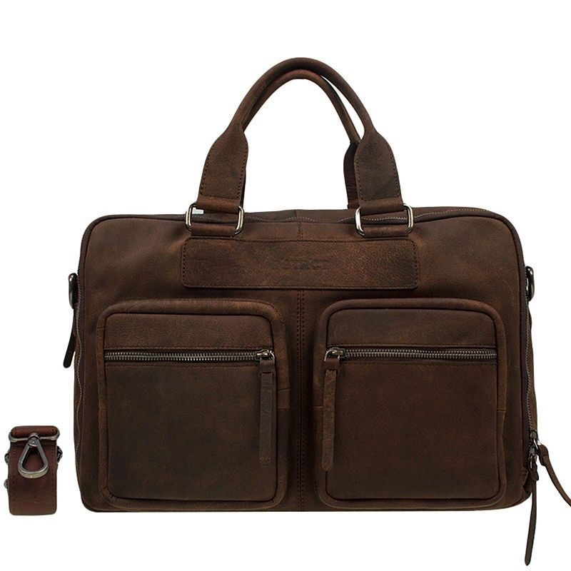 DSTRCT Wall Street Laptop Bag Brown 13-15 inch