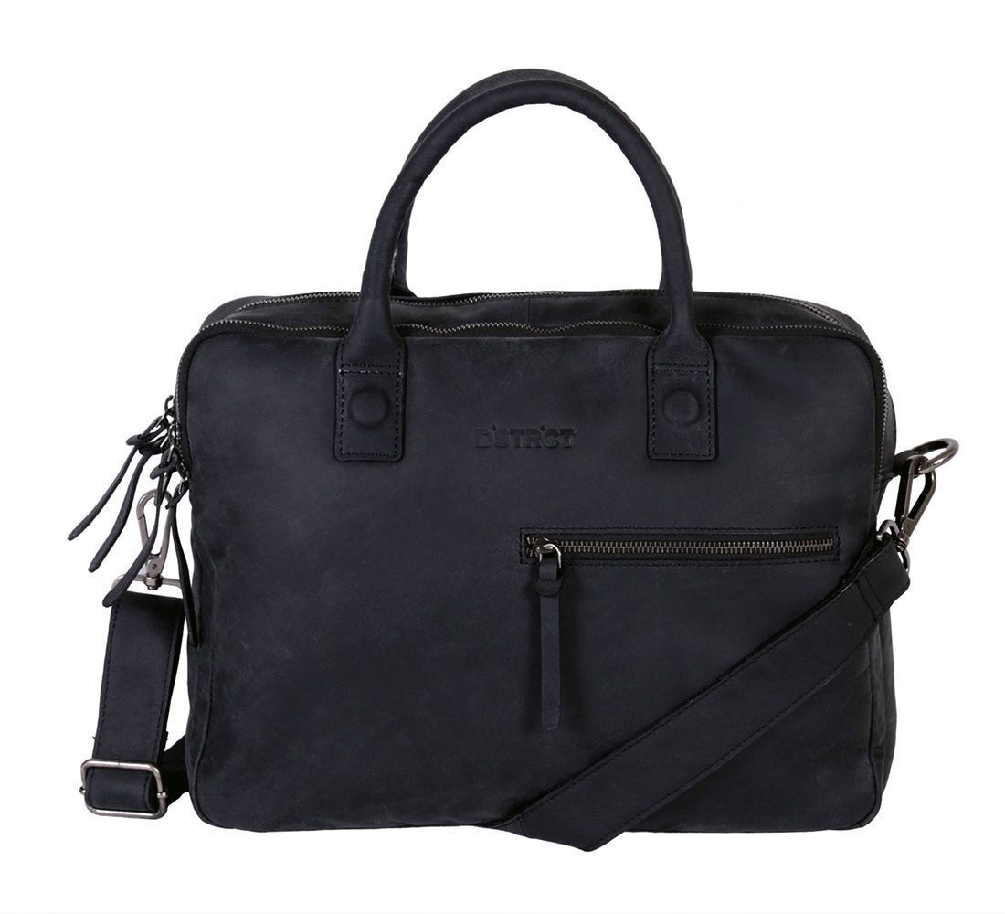 DSTRCT Wall Street Business Bag Double Zipper Black 11-15 inch