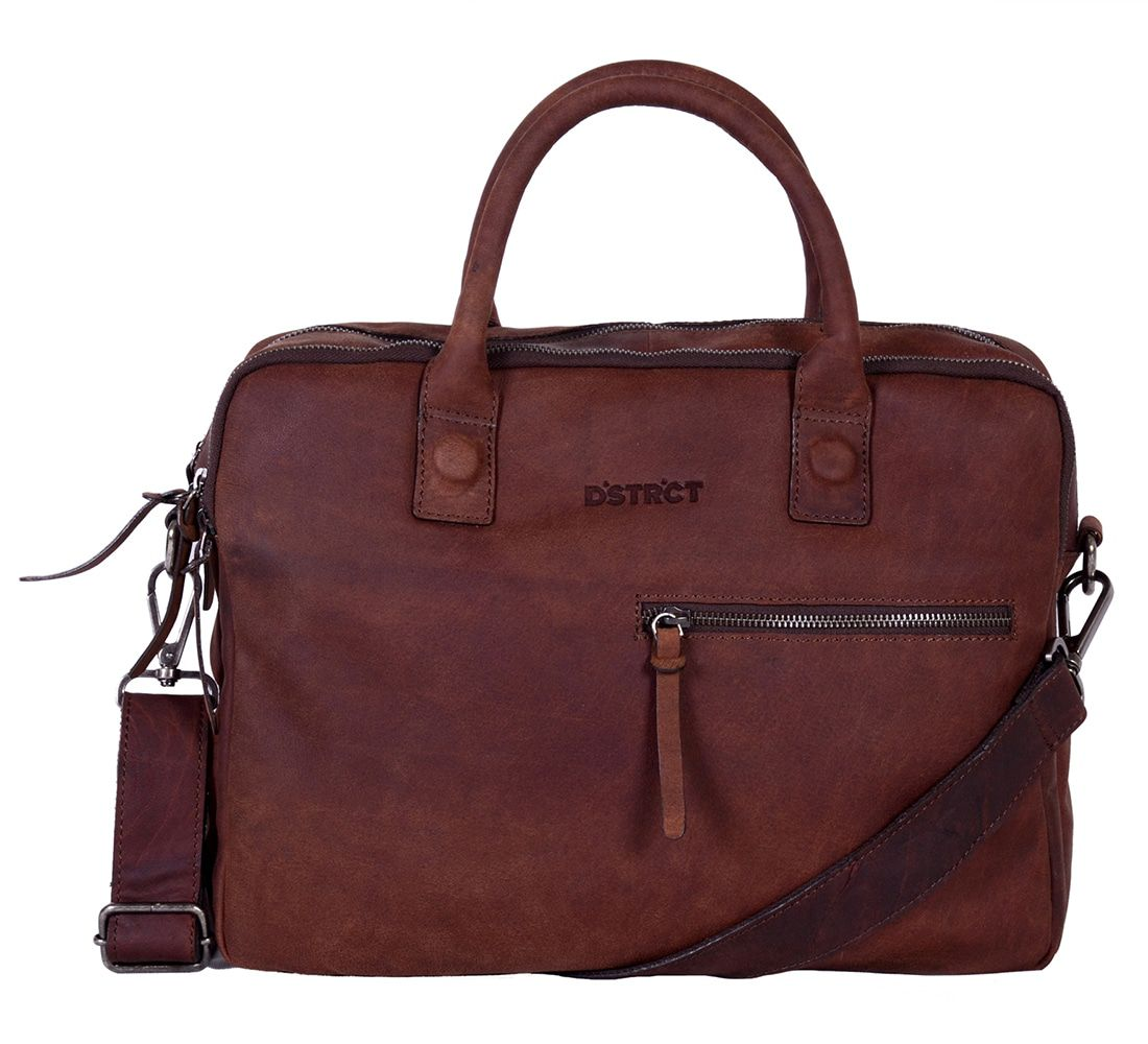 DSTRCT Wall Street Business Bag Double Zipper Brown 11-15 inch