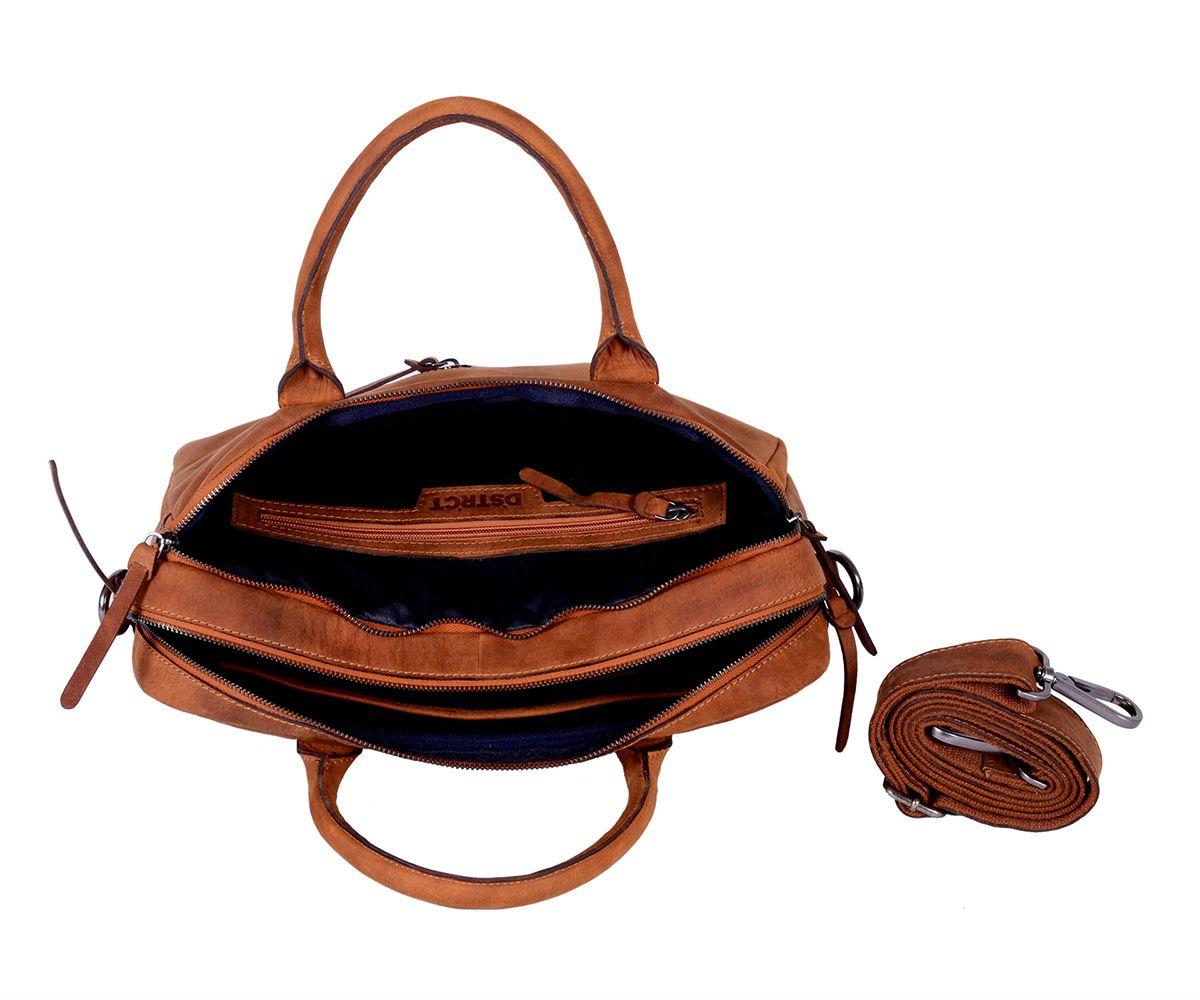 DSTRCT Wall Street Business Bag Double Zipper Cognac 11-15 inch