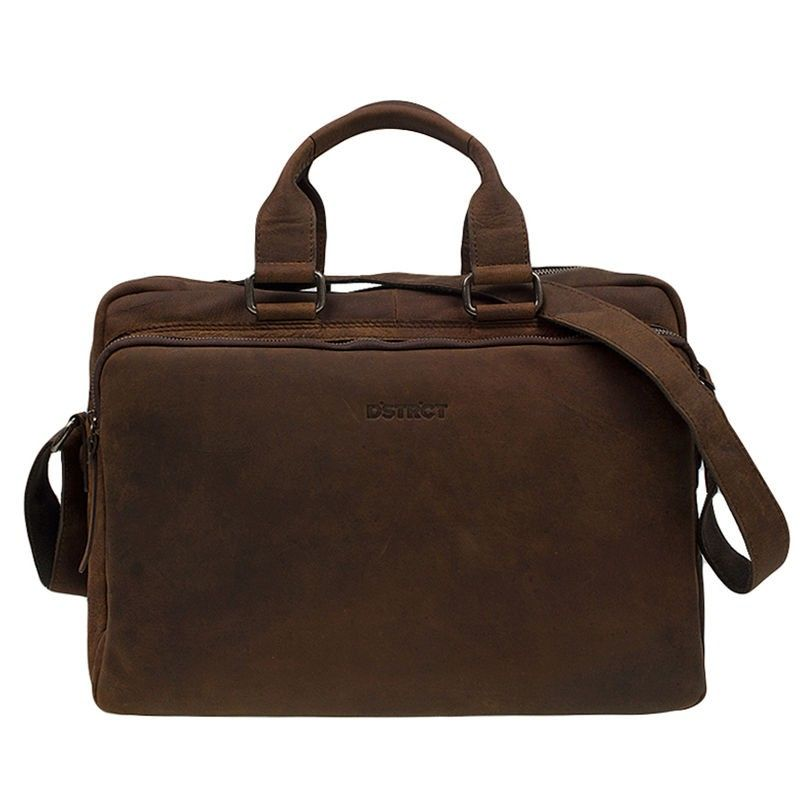 DSTRCT Wall Street Laptop Bag Brown 15-17 inch