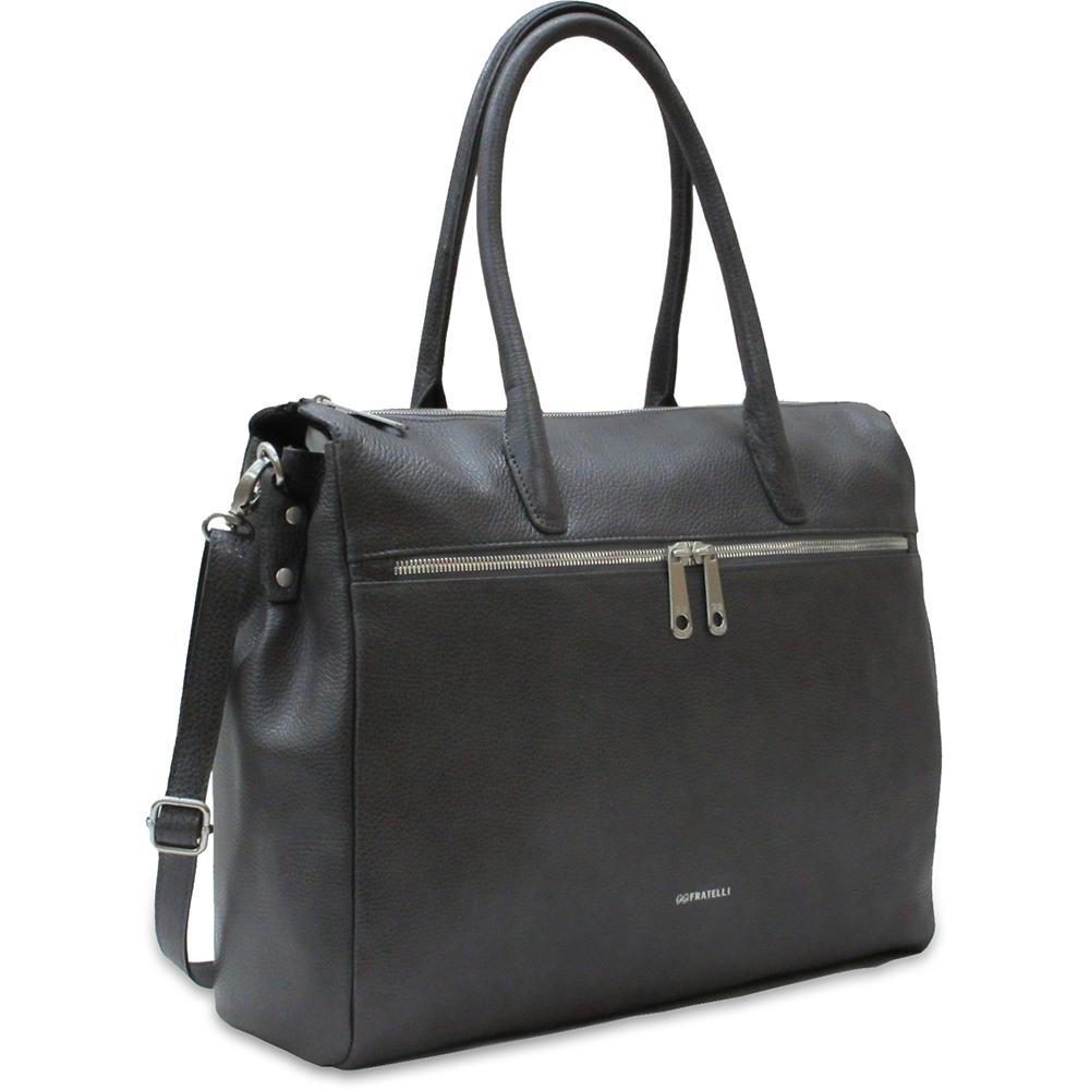 Business Bag Gigi Fratelli Dames Leren Schoudertas iPad Romance Business ROM8005 Smoke