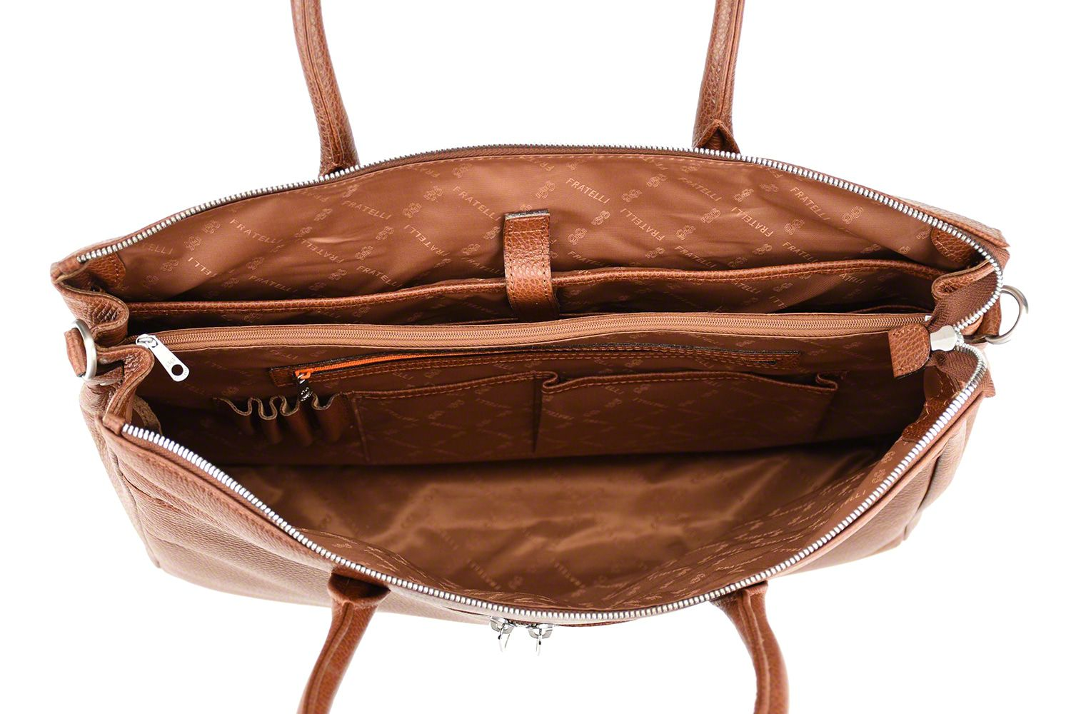 Laptoptas Gigi Fratelli Dames Leren Laptoptas 17 inch Romance Business ROM8007 Brandy