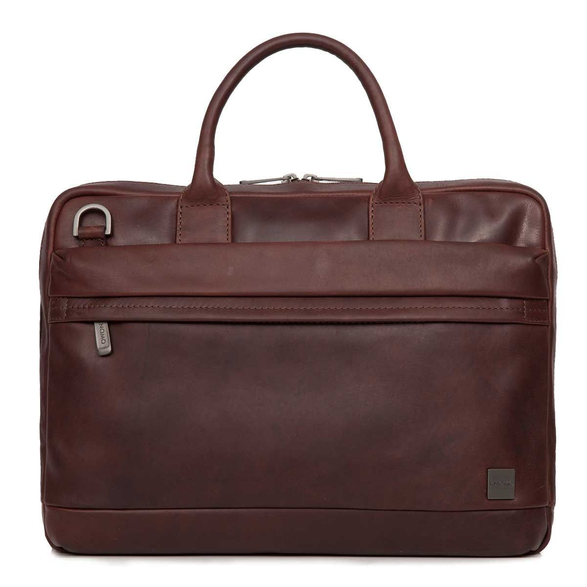 Knomo Foster Leather Laptop Briefcase Brown 14 inch