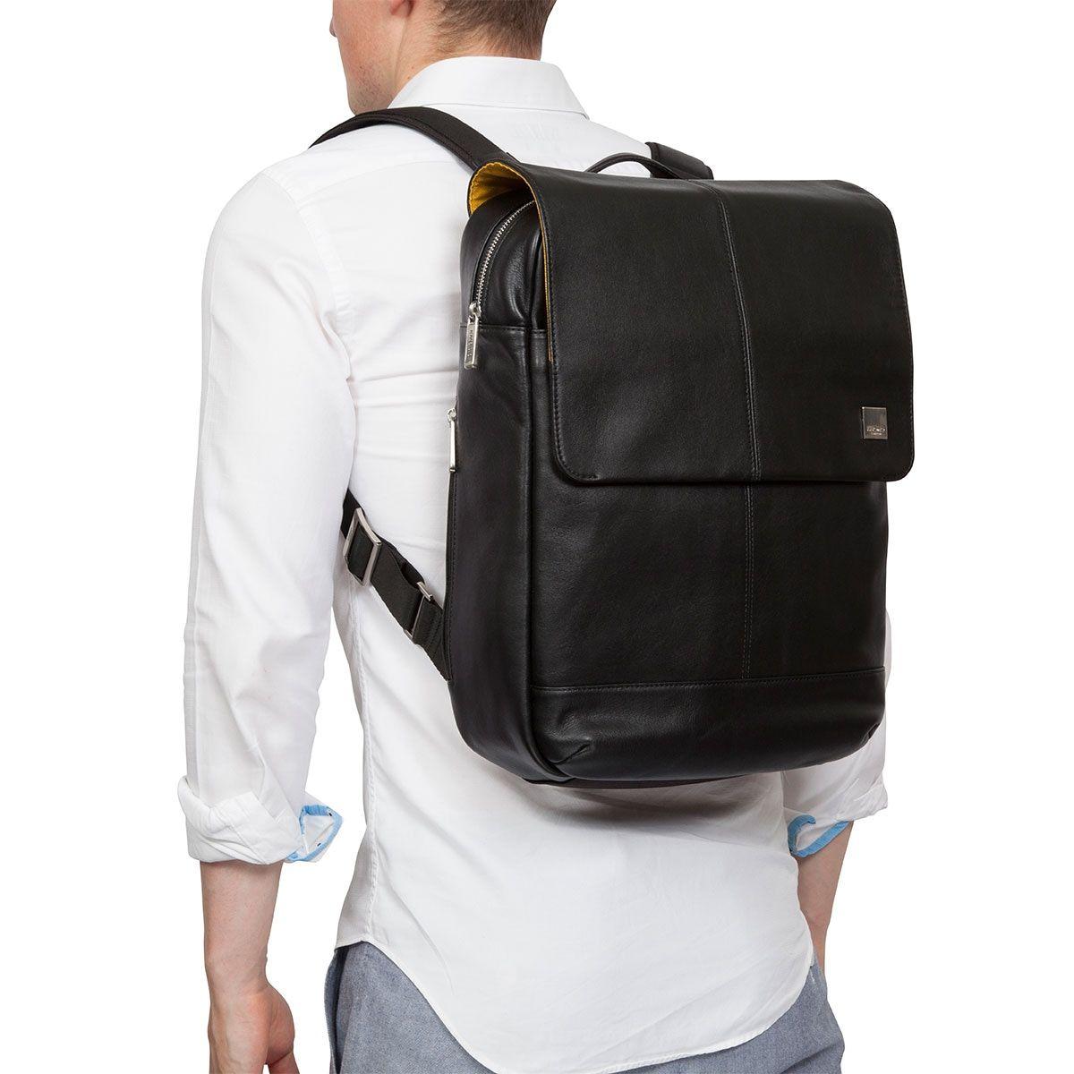 Knomo Hudson Leather Backpack Black 15 inch