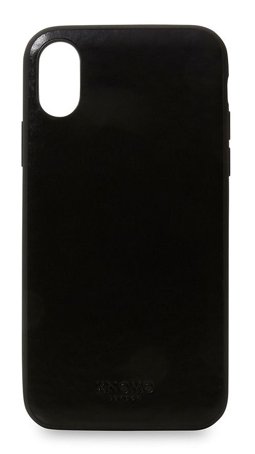 iPhone hoesje Knomo iPhone X Leather Snap On Case Black