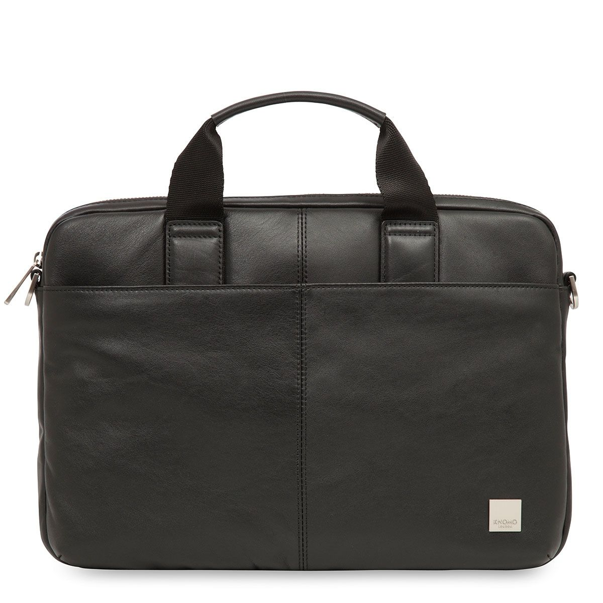 Knomo Stanford Small Leather Briefcase Black 13 inch