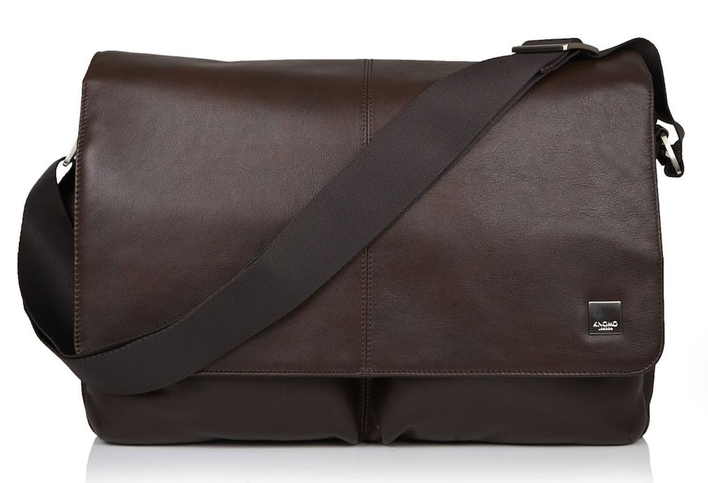 Knomo Kobe Soft Leather Messenger Brown 15 inch
