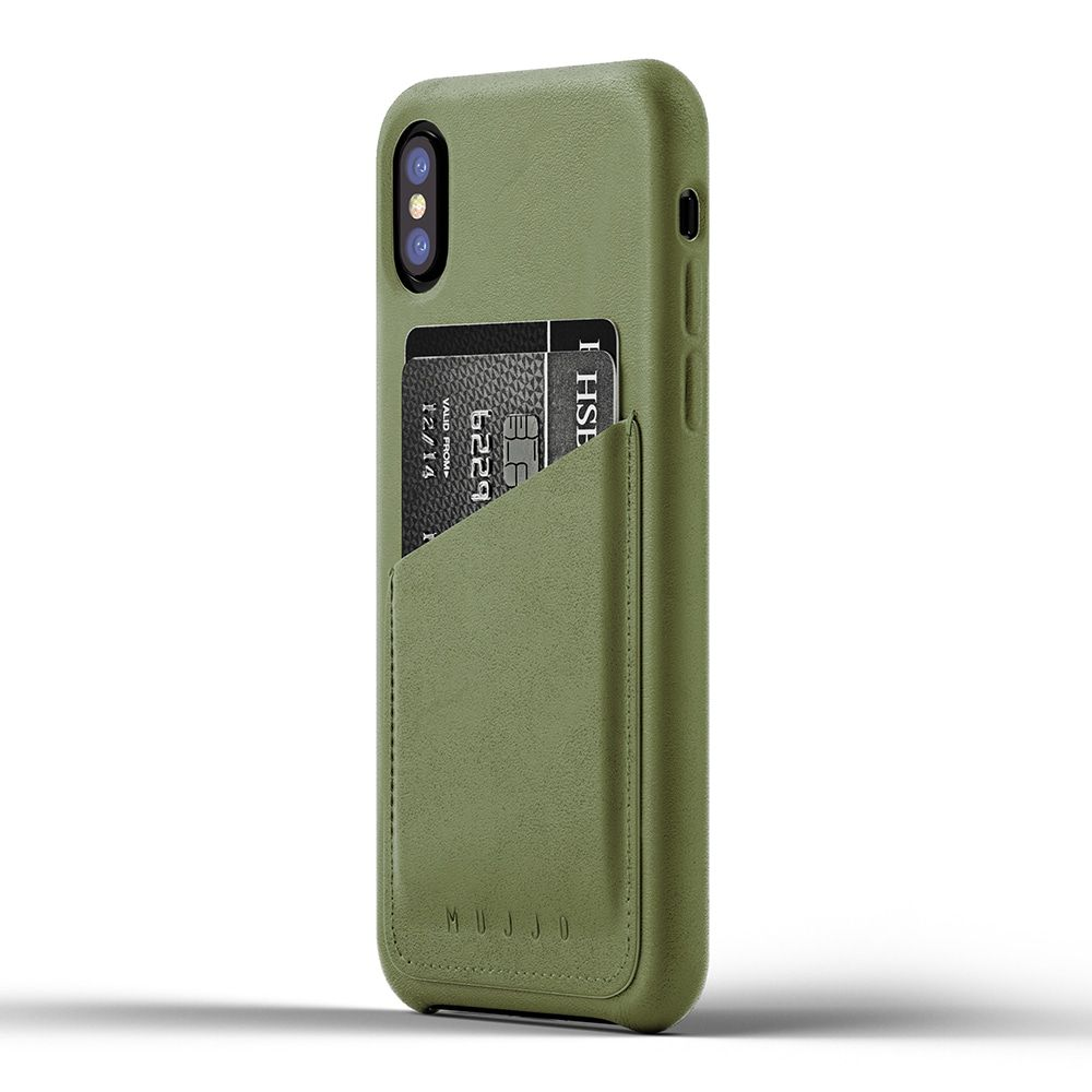 Mujjo Leather Wallet Case iPhone X Olive