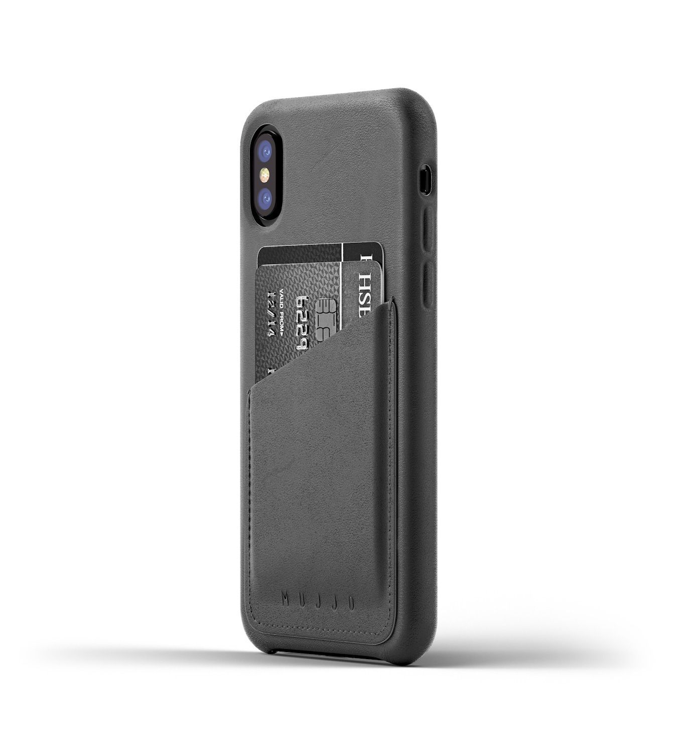 Mujjo Leather Wallet Case iPhone X Gray