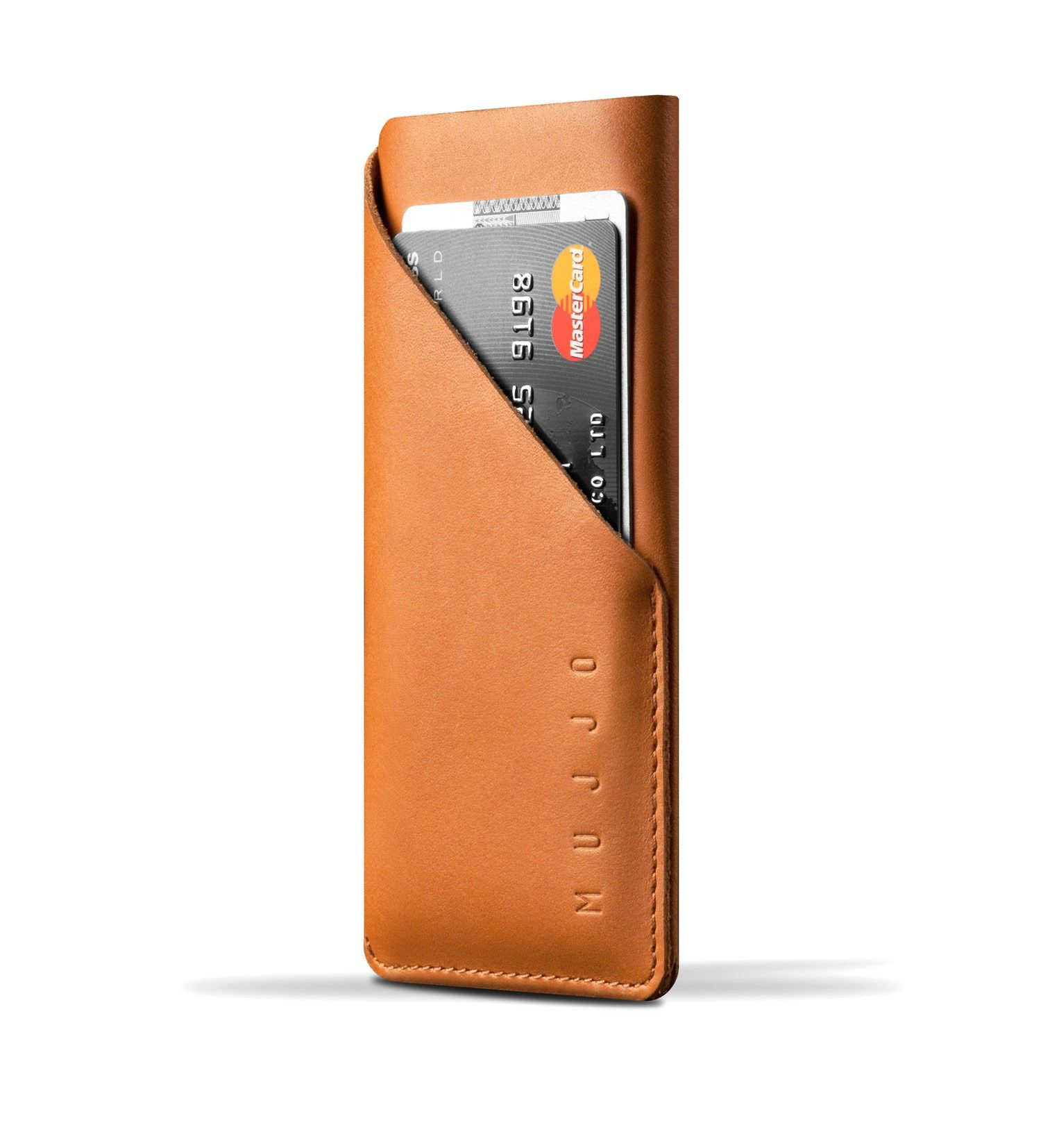Mujjo Leather Wallet Sleeve iPhone X Tan