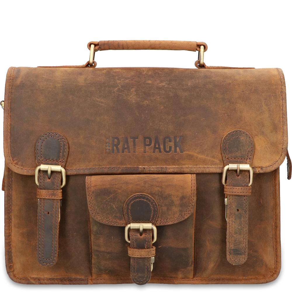 Rat Pack by Orange Fire Leren Aktetas 13 inch Rat Pack 1-Vaks OF 557-13 Bruin
