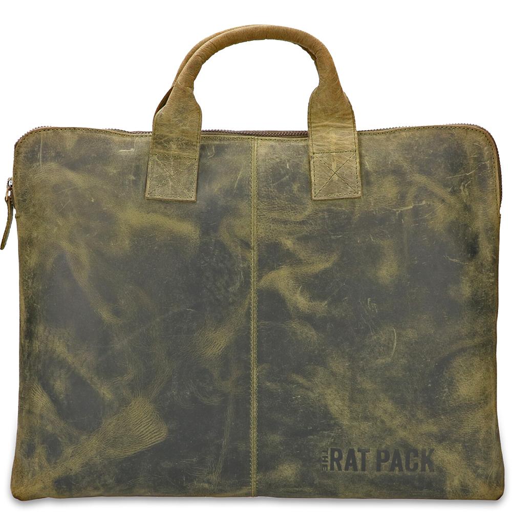 Rat Pack by Orange Fire Leren Handtas Sleeve 15.6 inch Rat Pack OF 555 15 Groen