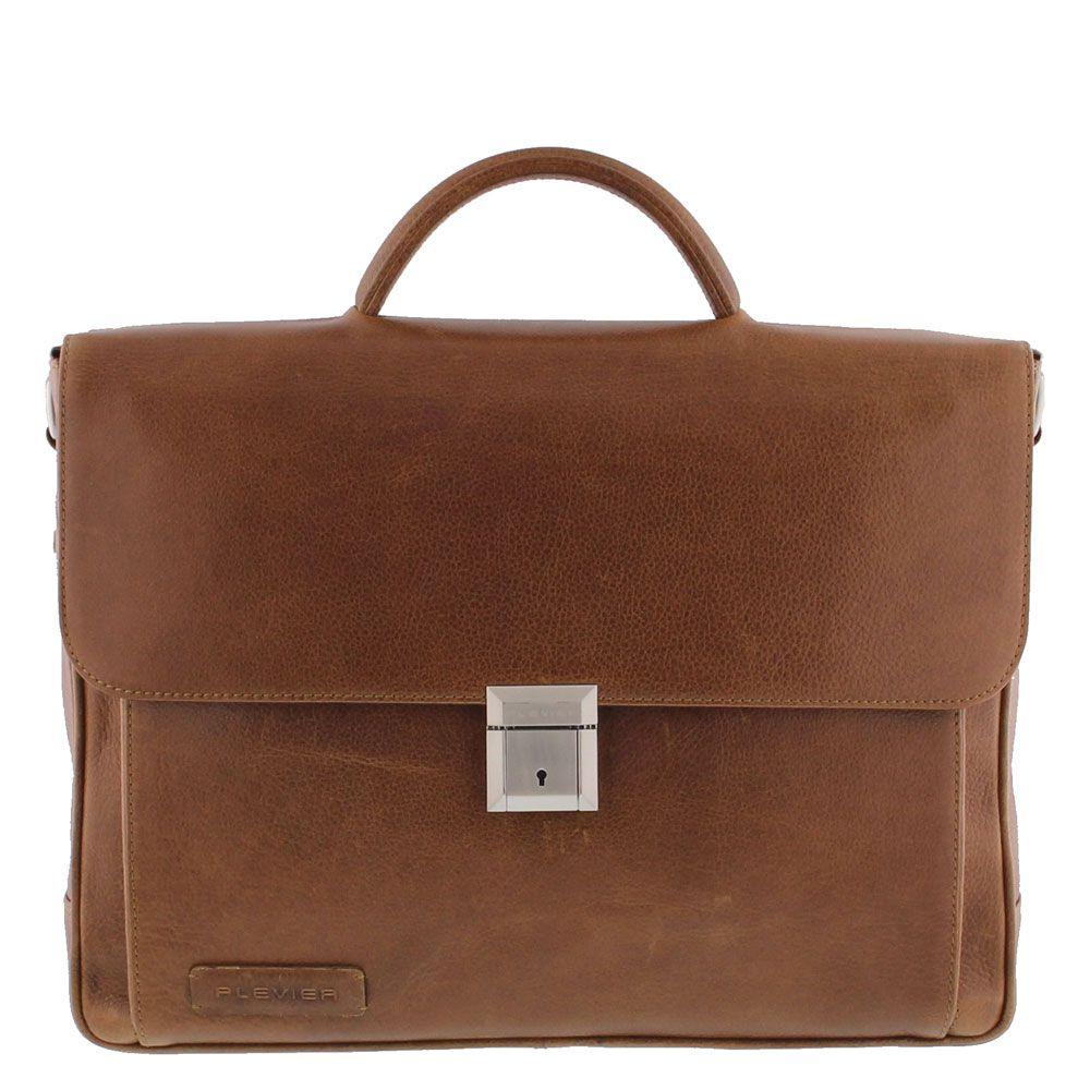 Plevier Aktetas/Laptoptas Crunch Leather 476-3 Cognac 15 inch