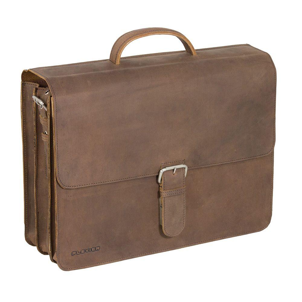 Laptoptas Plevier Antiek Leren Business Laptoptas 3-Vaks Bruin 17 inch