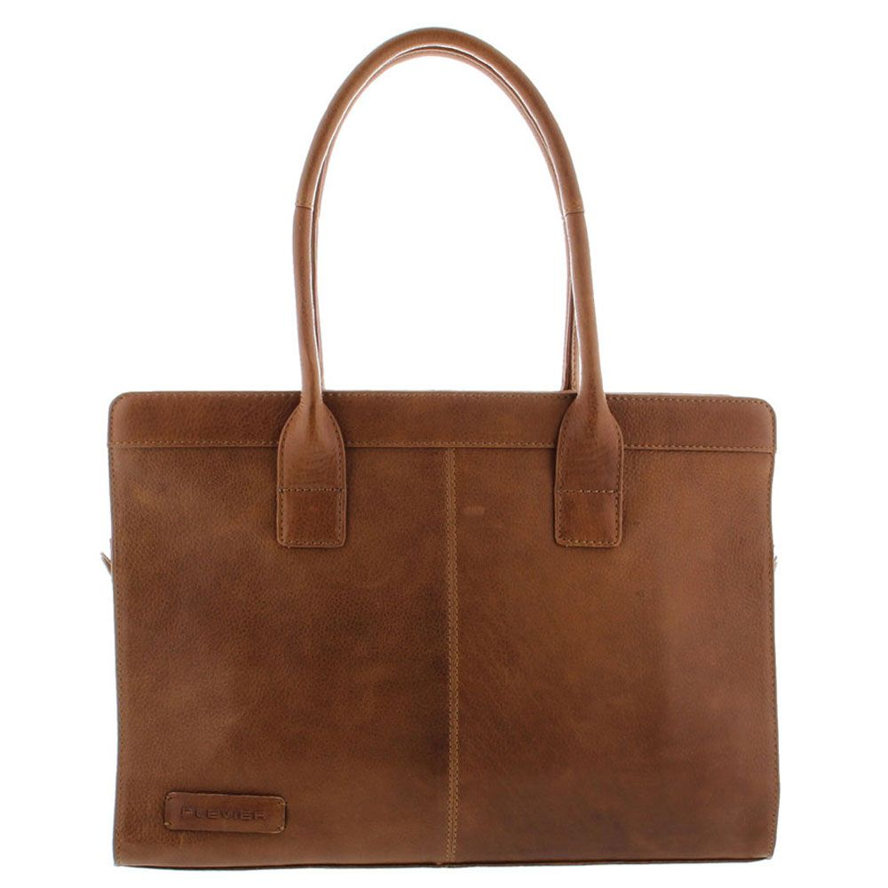 Plevier Crunch Leather Dames Business Laptoptas Cognac 14 inch