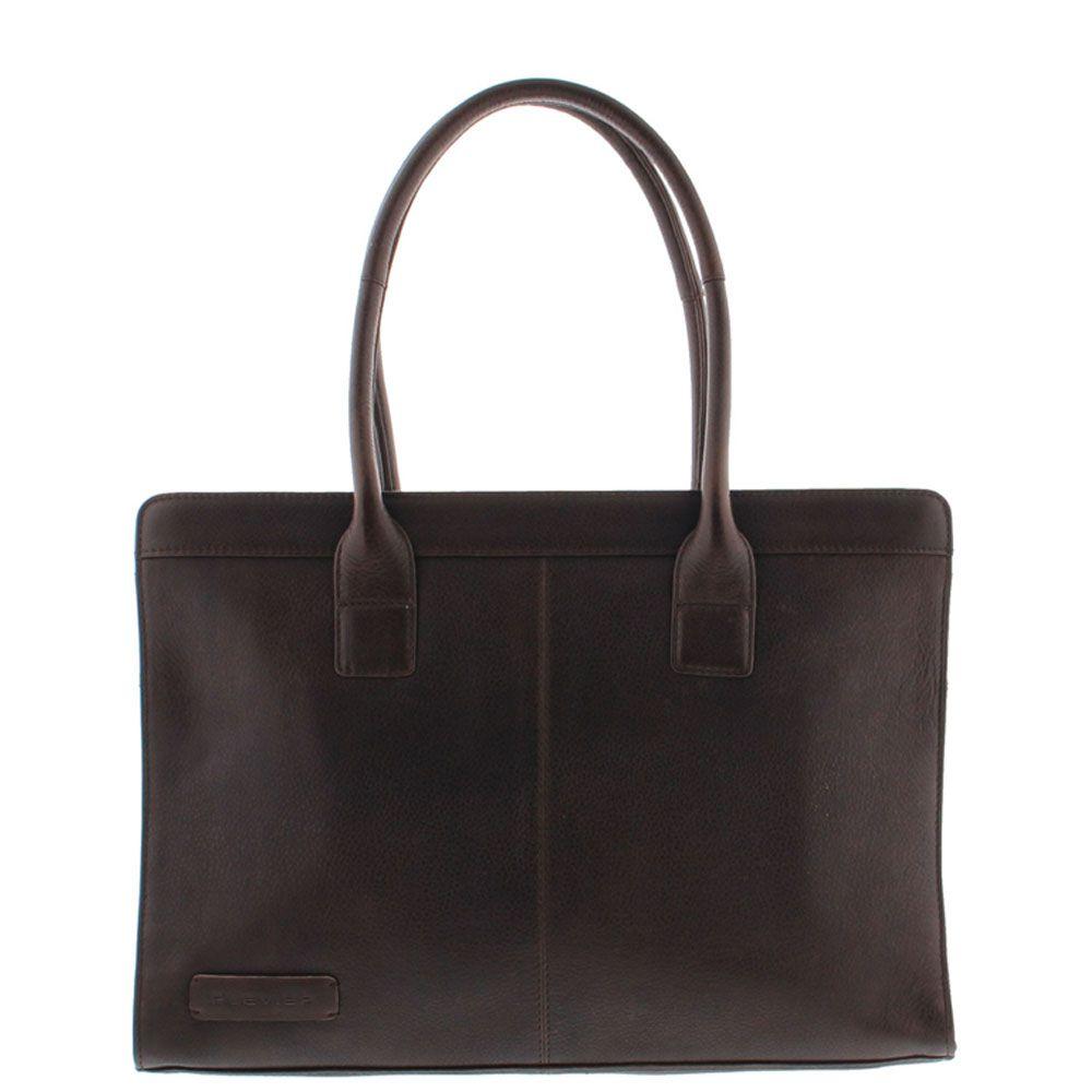 Plevier Crunch Leather Dames Business Laptoptas Dark Brown 14 inch