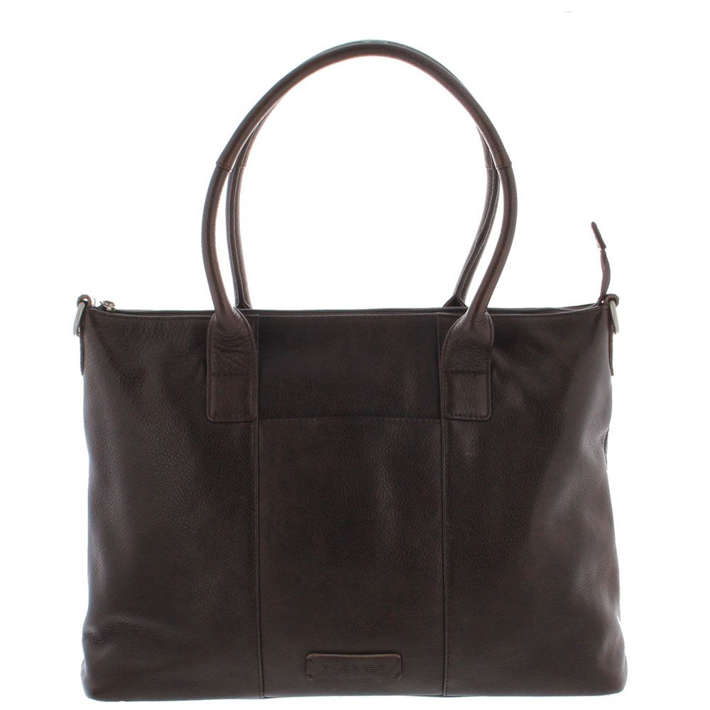 Plevier Dames Leather Tote Businessbag 483 Donkerbruin 15 inch