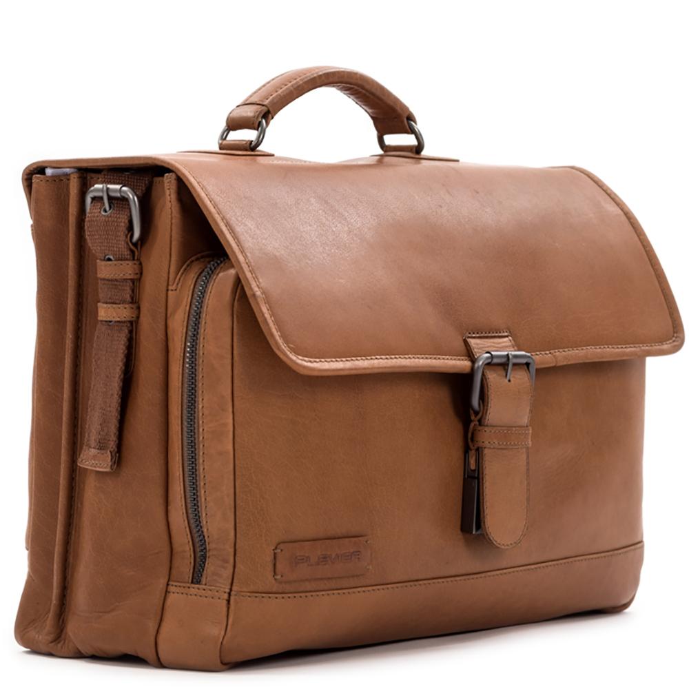 Plevier Heren Leren Aktetas Laptoptas 15.6 inch Rock Quartz Cognac