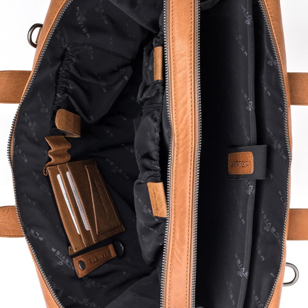 Laptoptas Plevier Heren Leren Laptoptas 15.6 inch Rock Flint Cognac