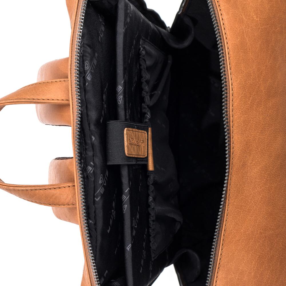 Plevier Leren Laptop Rugtas 15.6 inch Rock Slate Cognac