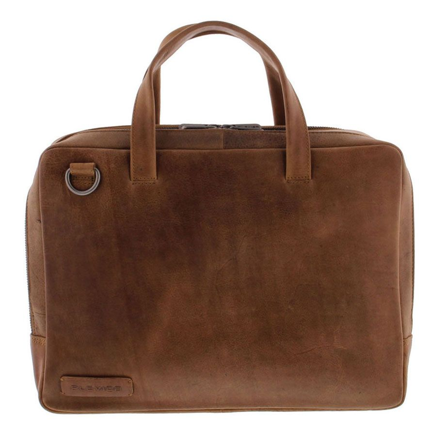 Laptoptas Plevier Pure Business Laptoptas 2 Vaks 707 Cognac 14 inch