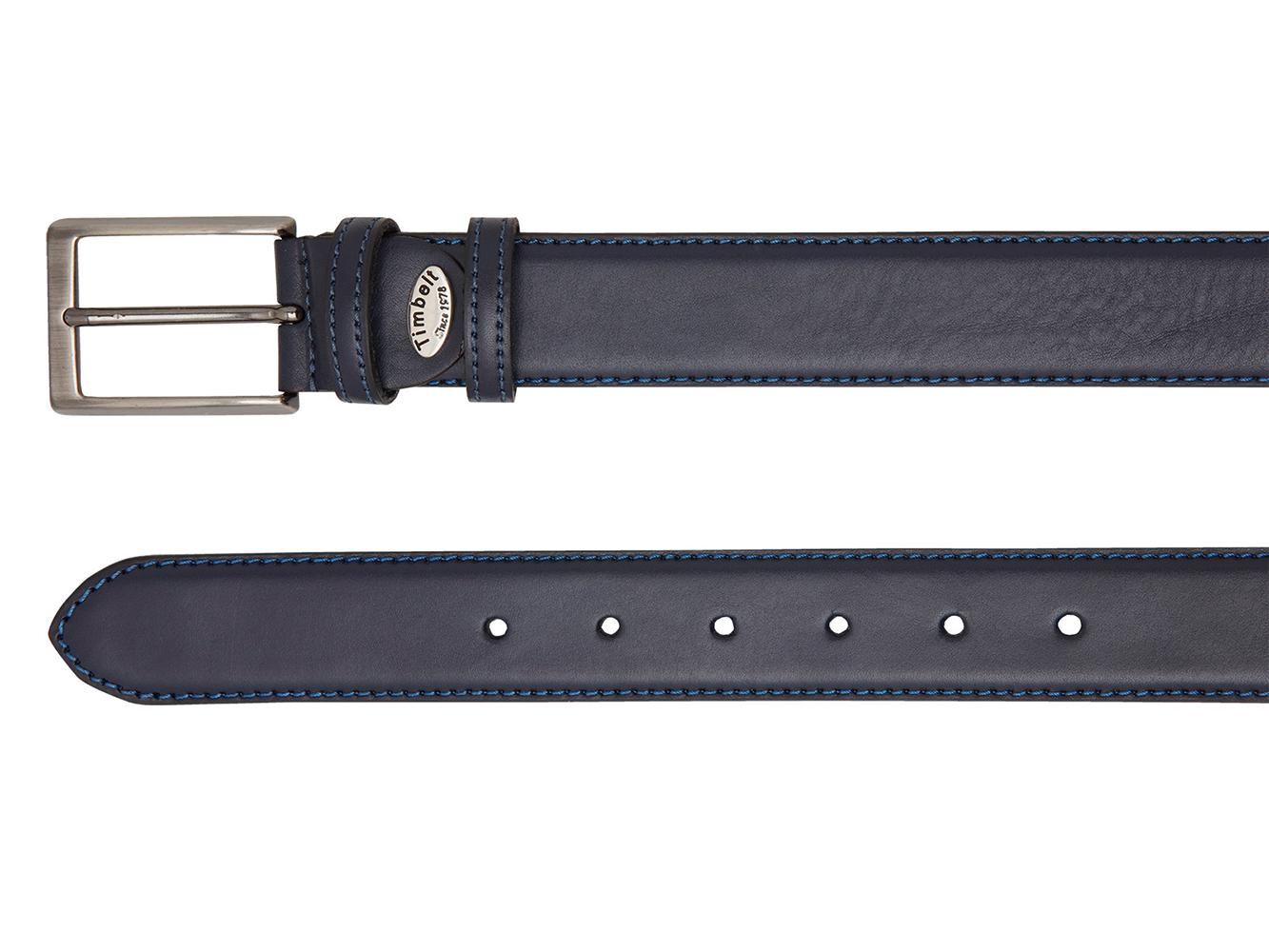 Timbelt 35577 Heren Volnerf Leren Pantalon Riem 105/3,5 cm Navy-Blauw