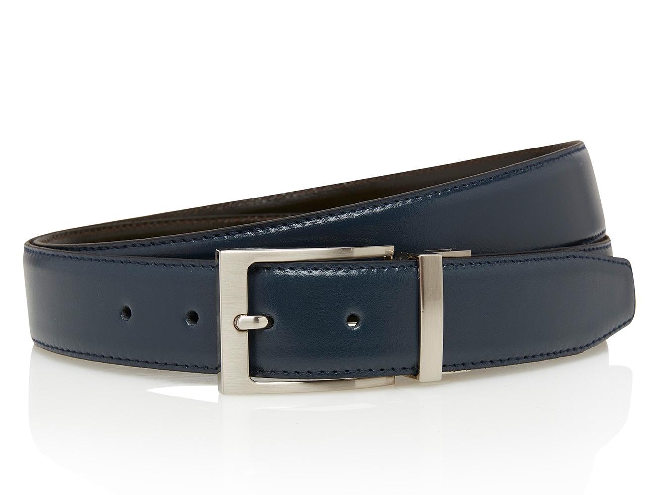 Timbelt Df Heren Volnerf Leren Pantalon Riem 105/3,5 cm Blauw/Bruin